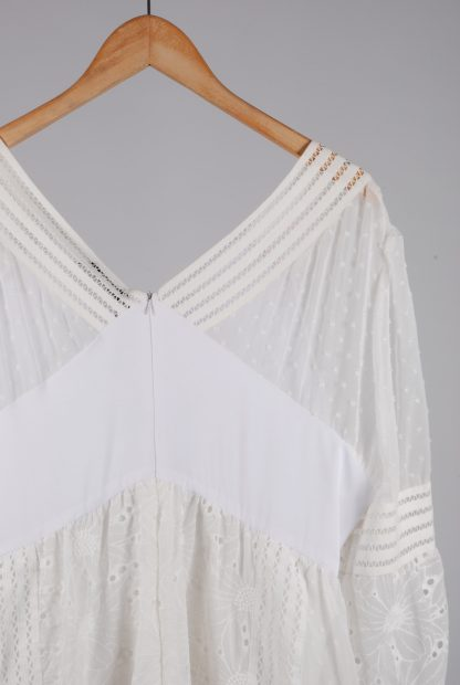 Boohoo Cream & White Broderie Dress - Size 16 - Back Detail