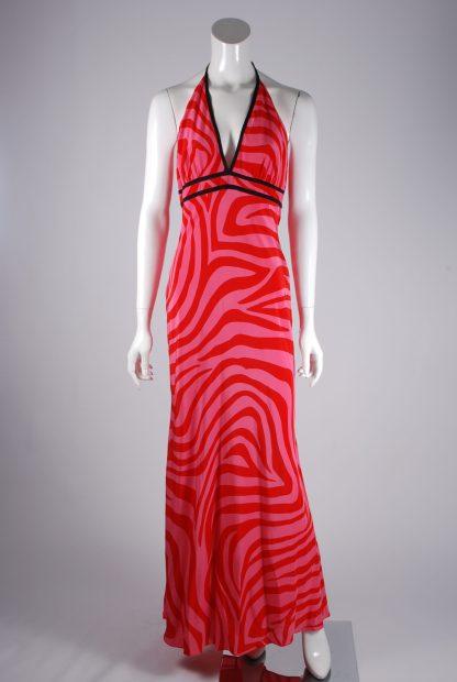 Debenhams Red & Pink Swirl Maxi Dress - Size 12 - Front
