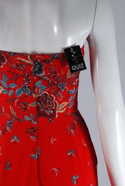 Quiz Red Floral Bandeau Jumpsuit - Size 10 - Back Detail