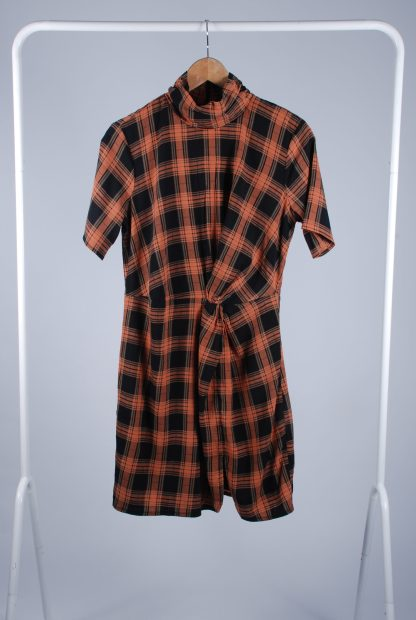 Fashion Union High Neck Check Mini Dress - Size 10 - Front