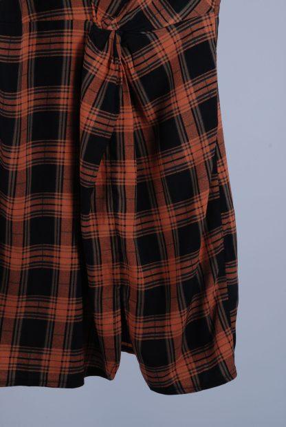 Fashion Union High Neck Check Mini Dress - Size 10 - Front Hem