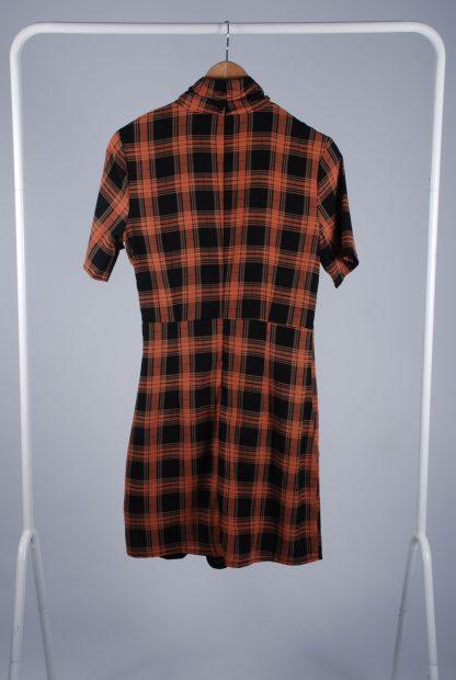 Fashion Union High Neck Check Mini Dress - Size 10 - Back