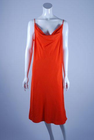 M&S Orange Tonal Polka Dot Dress - Size 14 - Front