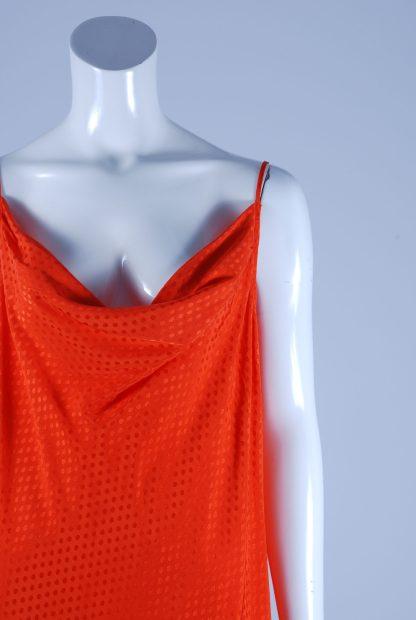 M&S Orange Tonal Polka Dot Dress - Size 14 - Front Detail