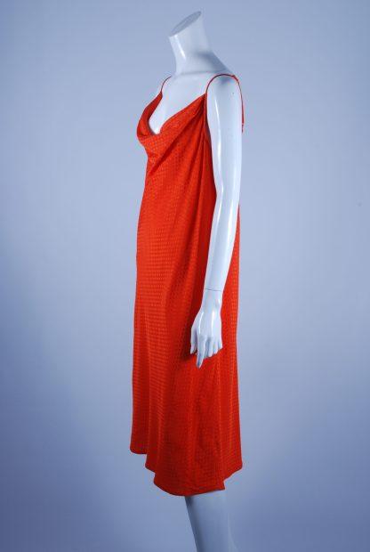 M&S Orange Tonal Polka Dot Dress - Size 14 - Side