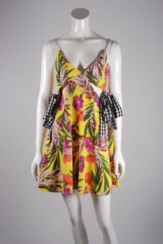 ASOS Floral & Check Mini Dress - Size 10 - Front