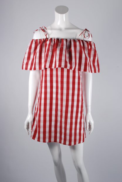 Mango Red & White Gingham Dress - Size S - Front