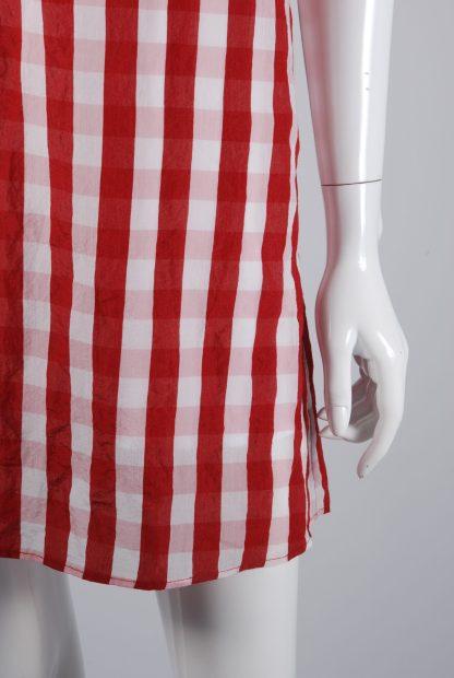 Mango Red & White Gingham Dress - Size S - Front Hem