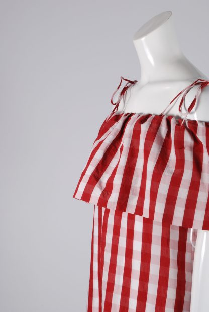 Mango Red & White Gingham Dress - Size S - Side Detail