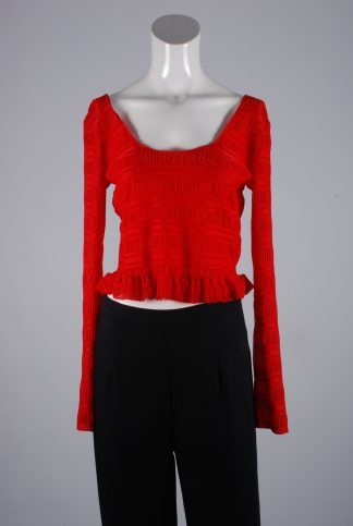 Lost Ink Red Textured Crop Top - Size 8 - Front