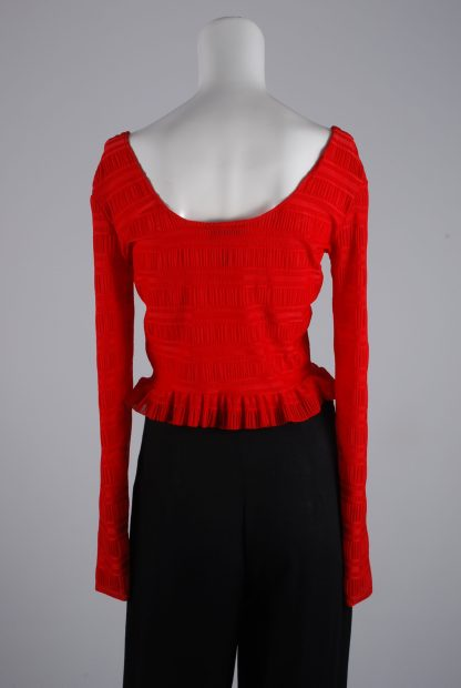 Lost Ink Red Textured Crop Top - Size 8 - Back