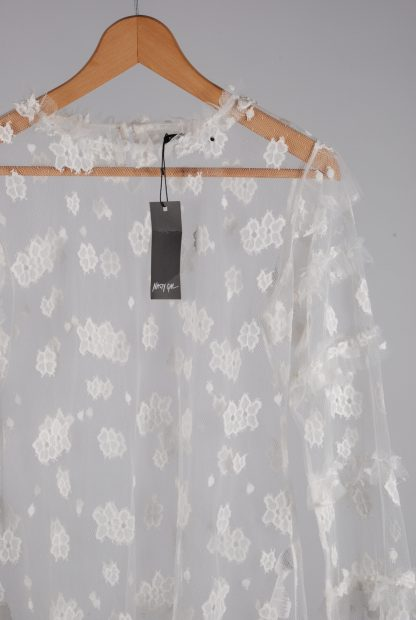 Nasty Gal White Lace Mesh Top - Size 14 - Front Detail