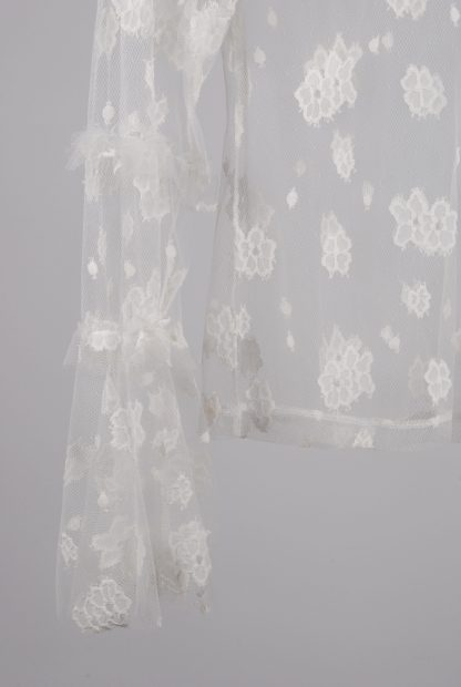 Nasty Gal White Lace Mesh Top - Size 14 - Front Hem