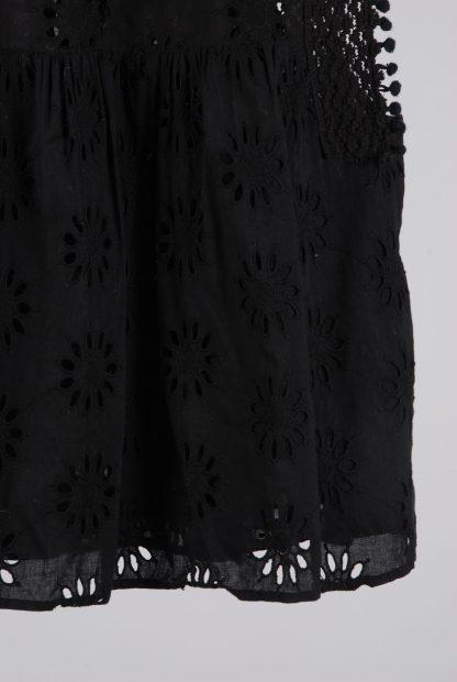 Zara Black Broderie Sleeveless Top - Size M - Back Hem