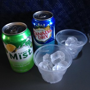 In-flight bevvies. The air hostess was not keen on giving me two soft drinks at once though...