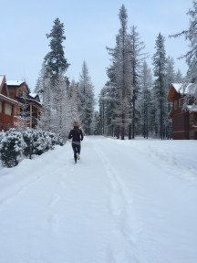 Chasing Daisy around snowy trails.