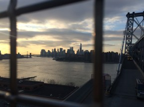 A view of Manhattan from the Williamsburg Bridge.