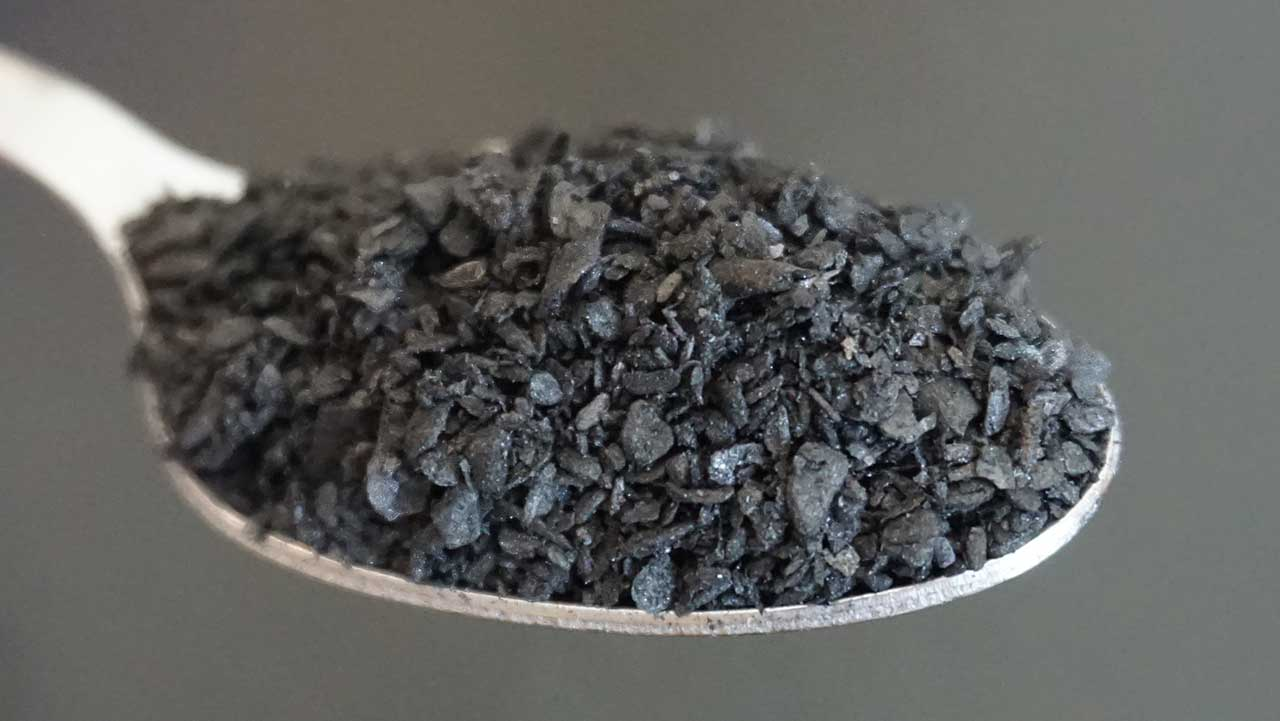 Biochar closeup view of particle sizes