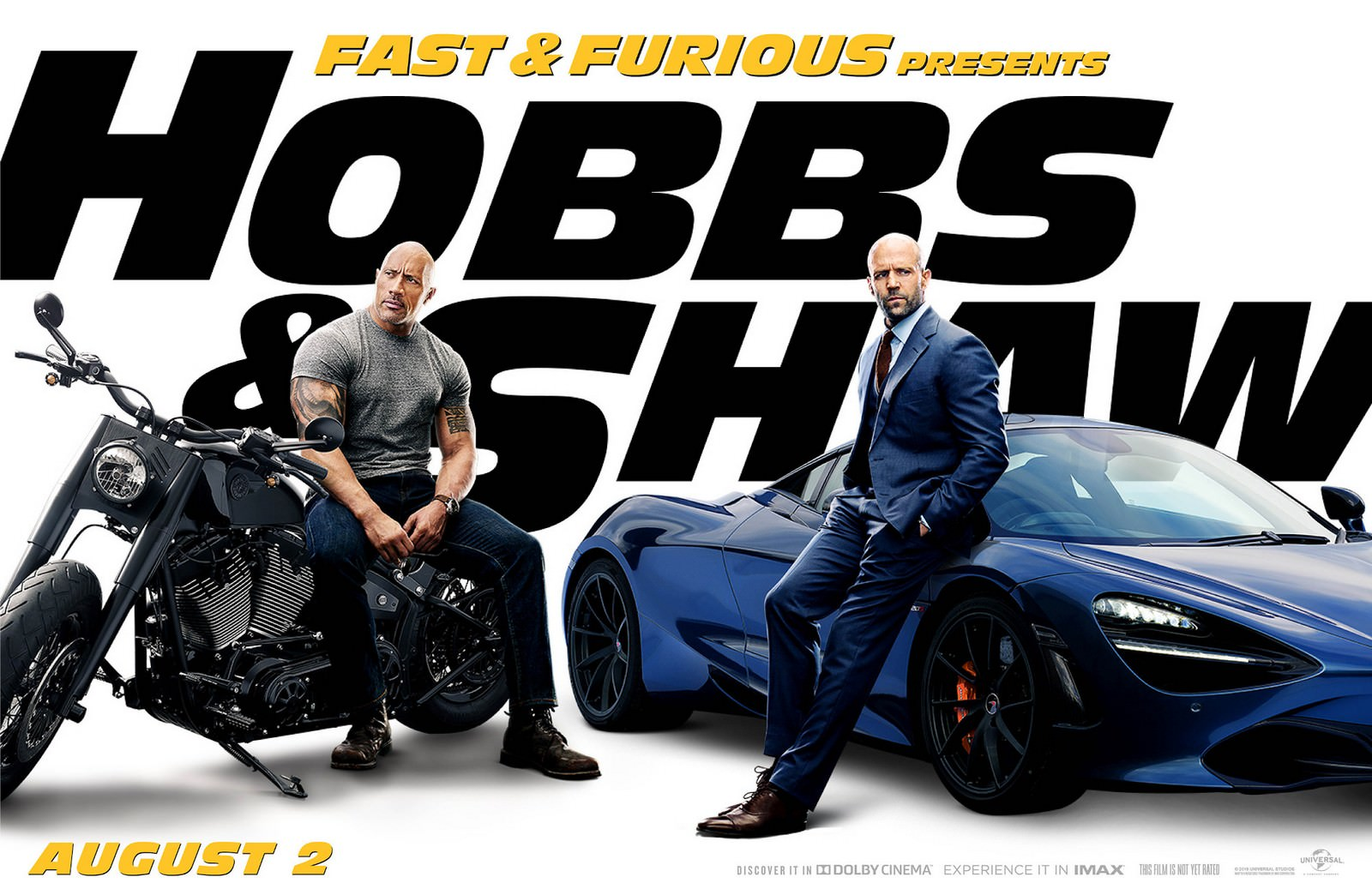 Movie, Fast & Furious Presents: Hobbs & Shaw(美國, 2019年) / 玩命關頭:特別行動(台灣) / 速度与激情:特别行动(中國) / 狂野時速:雙雄聯盟(香港), 電影海報, 美國, 橫版