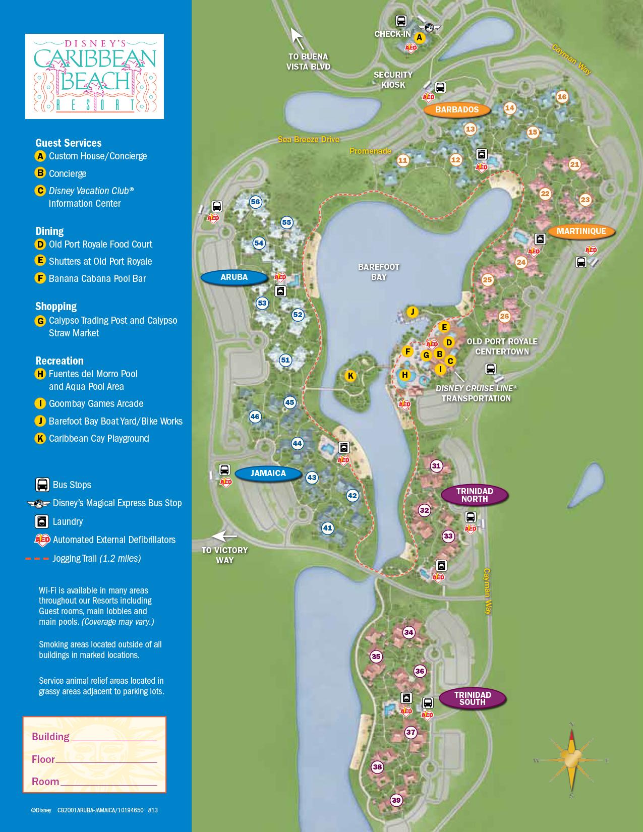 Caribbean Beach Resort Map Walt Disney World