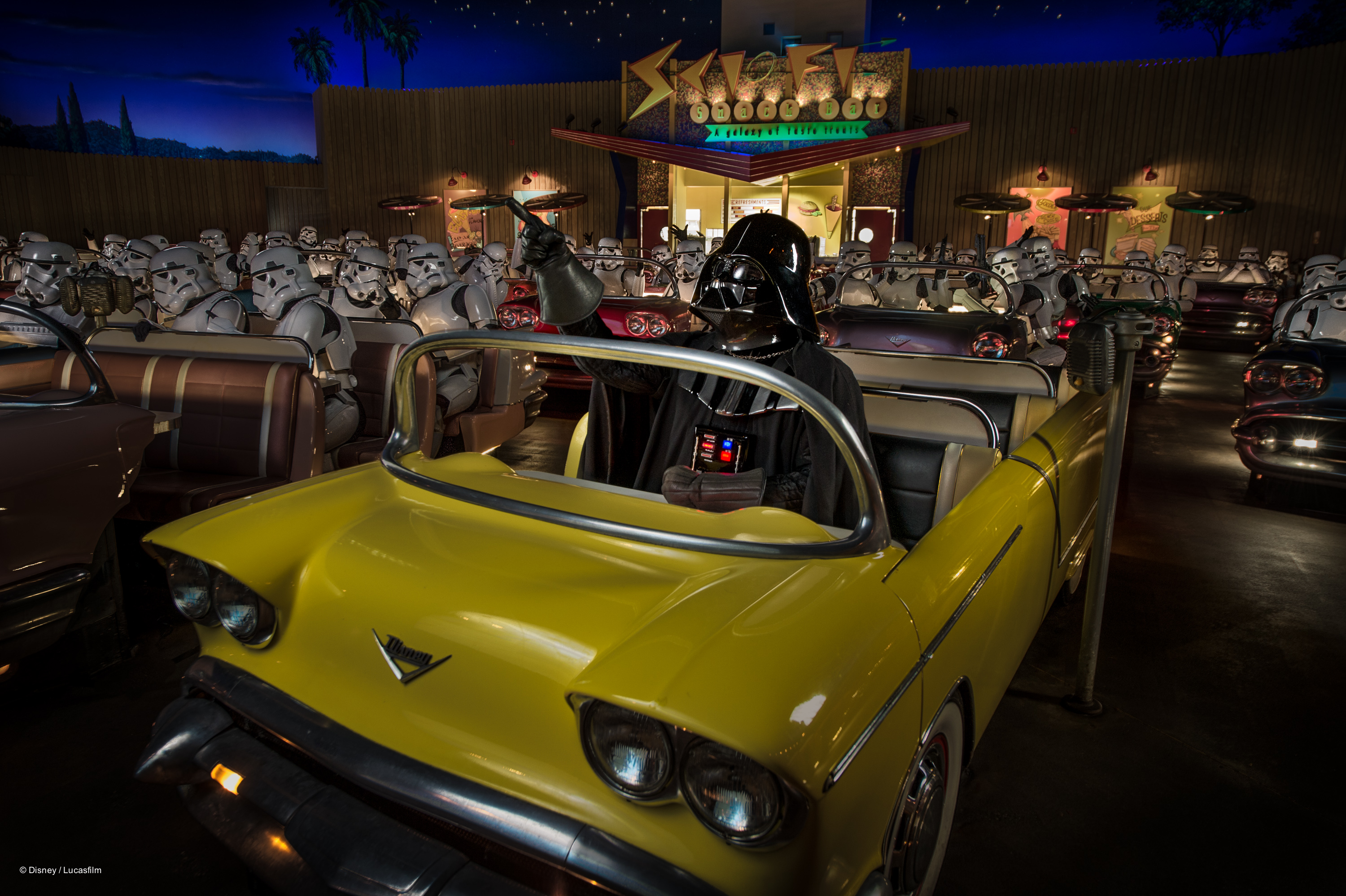 Darth Vader in a car at Sci Fi Dine In Theater Star Wars Weekends Breakfast
