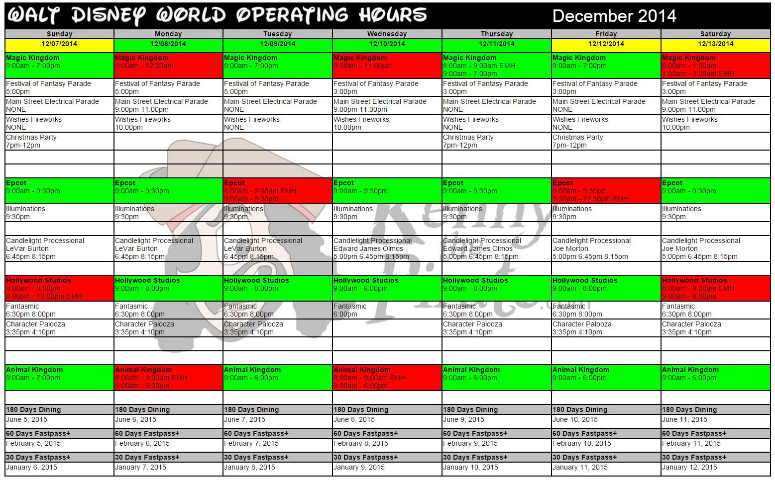 KennythePirate's December Walt Disney World Crowd Calendar with Dining and Fastpass+ Booking Dates
