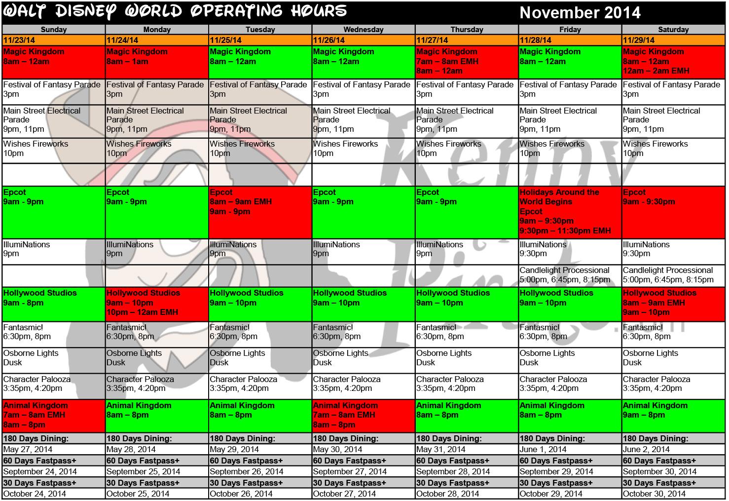 KennythePirate's November Walt Disney World Crowd Calendar with Dining and Fastpass+ Booking Dates