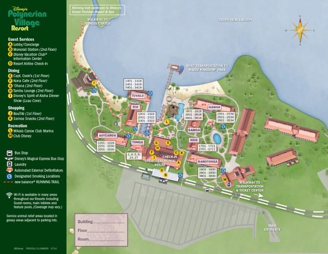 Polynesian Village Resort Map Walt Disney World