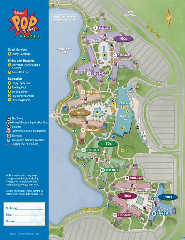 Pop Century Resort Map Walt Disney World