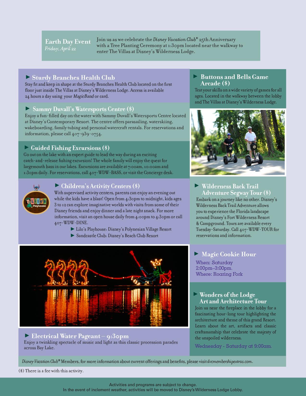Wilderness Lodge Resort Recreation Activities Calendar July