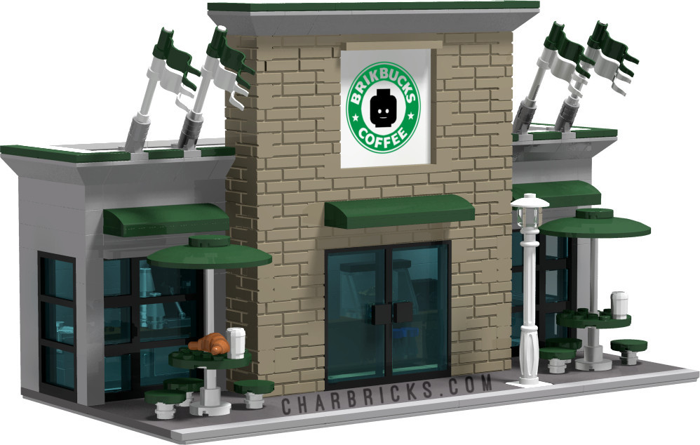 Custom MOC Lego Starbucks Coffee Shop by CharBricks charlotteslego