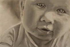 Black and white Pastel portrait of baby
