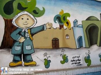 Este mural es el mas realista de todos, por que si veríamos a las niñas exactamente con ese uniforme