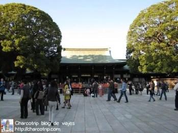 En el templo hay de todo: gente que va a rendir culto en ropa del diario, en traje tradicional, turistas curiosos (como nosotros) o gente que va a casarse o lleva a sus niños vestidos de kimono