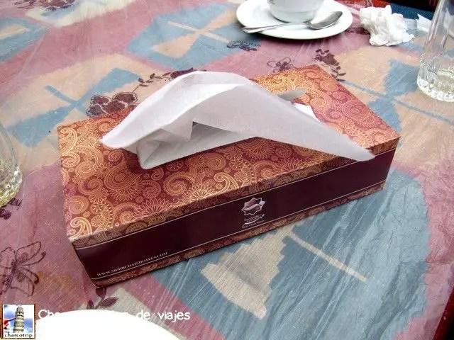 Pañuelos... si, pero no los ponen ahí para que te limpies la nariz (aunque también se puede usar para eso)... no... eran las servilletas oficiales de la mesa (me moría de la risa cada vez que veía la caja en la mesa hahaha)