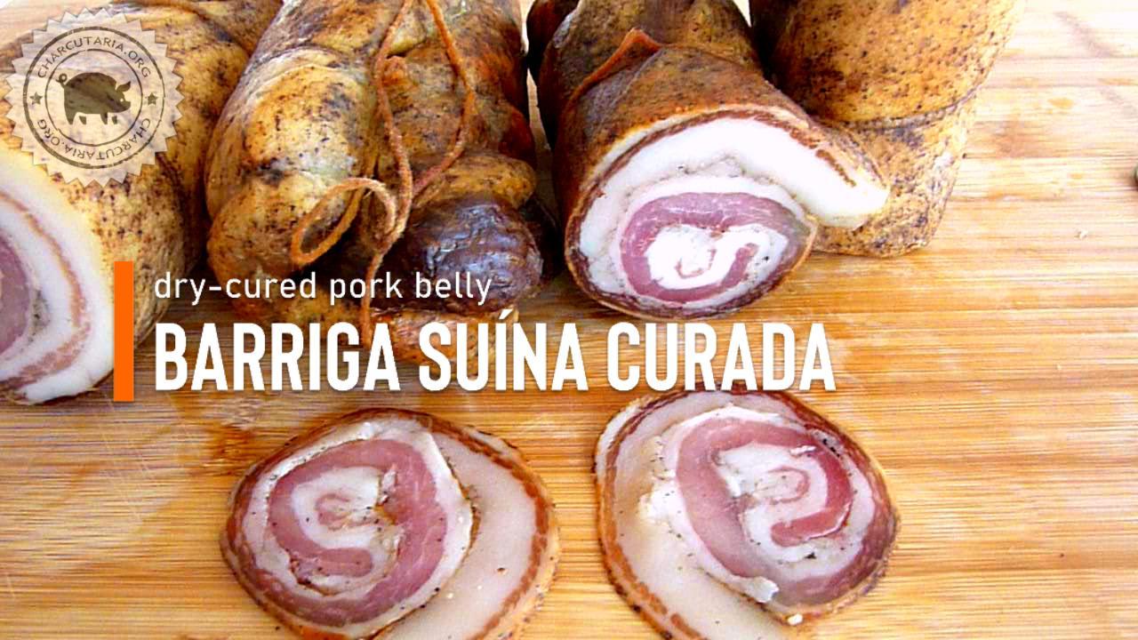 barriga de porco curada e maturada lardo dry cured pork belly