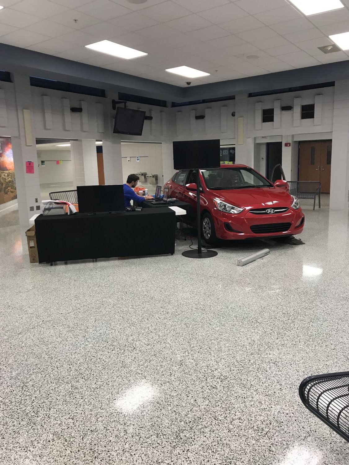PEERs brought a Chevy into the commons in October to help students understand the dangers of distracted driving. The PEERs Foundation, which provides the simulations, is based in Grand Rapids. PEERs stands for Professionals Encouraging Education Reform.