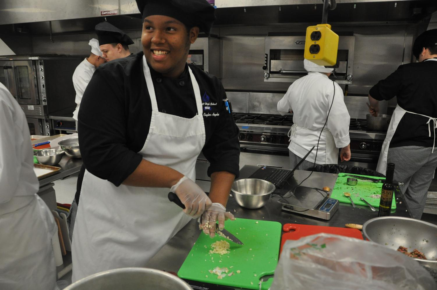 Keonte Acardio Cuyler-Angeles finds joy in the kitchen in the Culinary Arts Department in the school. Keonte Acardio Cuyler-Angeles