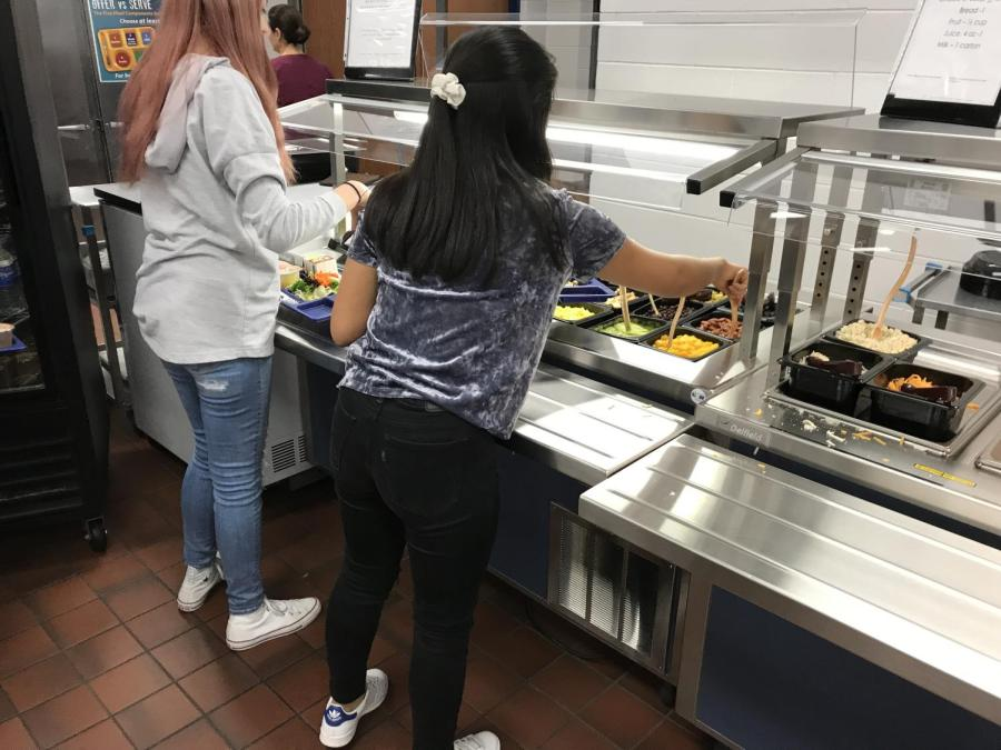 The+cafeteria+salad+bar+line+is+not+serving+Romaine+lettuce+because+of+the+E.+coli+recall.+No+word+on+when+Romaine+lettuce+will+return+to+CHS.+Photo+by+VM+Smith.+