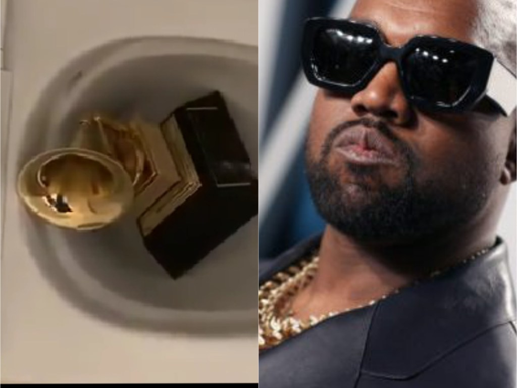"""""""Kanye West urinates on his Grammy award, then tweets more attacks at Universal Music""""(Tweets/Video)"""