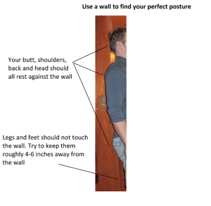 For great body posture, your head, shoulder blades and butt all need to be touching the wall