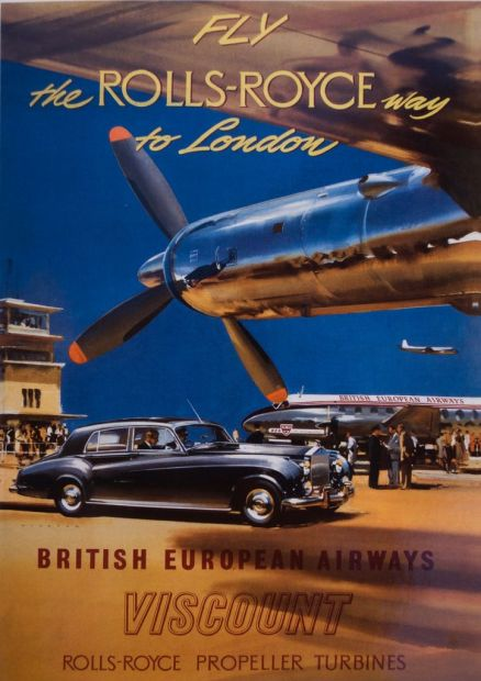 Vintage Rolls-Royce Poster with car and plane