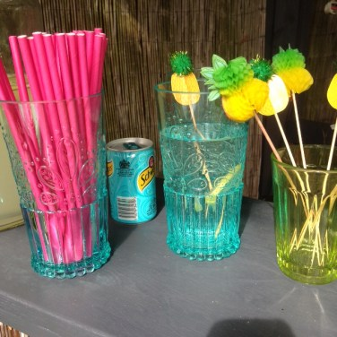 Tumblers and Pineapple food picks, Lakeland. Photograph; Charis White