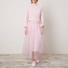 Tulle skirt and jumper, Cabbages & Roses: Charis White indigo and blush blog