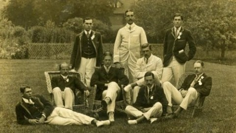 Vintage photo of the Leander Club 1908 Gold Medal Rowing team, London Olympics, courtesy of Pinterest.