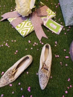 Wedding shoes and present for Tissus D'Helene display window. Designed and styled by Charis White
