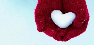 red glove snow heart