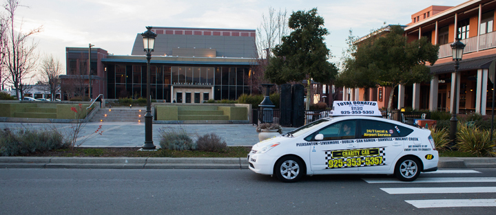 taxi cab in Livermore, in front of the Bankhead theater on 1st street