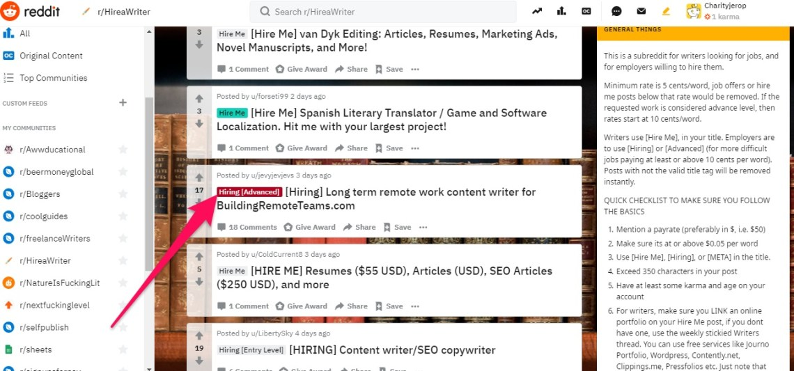 How to find writing jobs on reddit