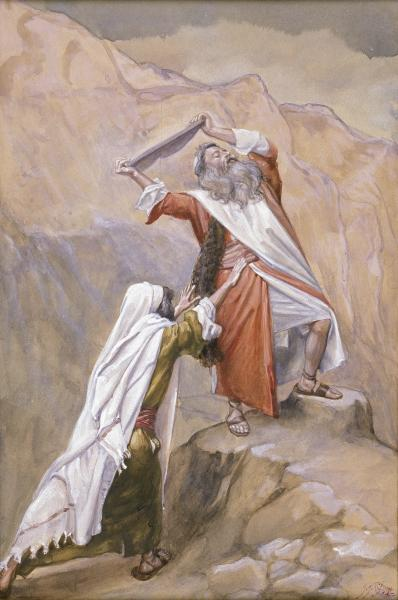 """Moses Destroys the Tables of the Ten Commandments"" ~ James Tissot"